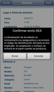 Confirmación envio app idea