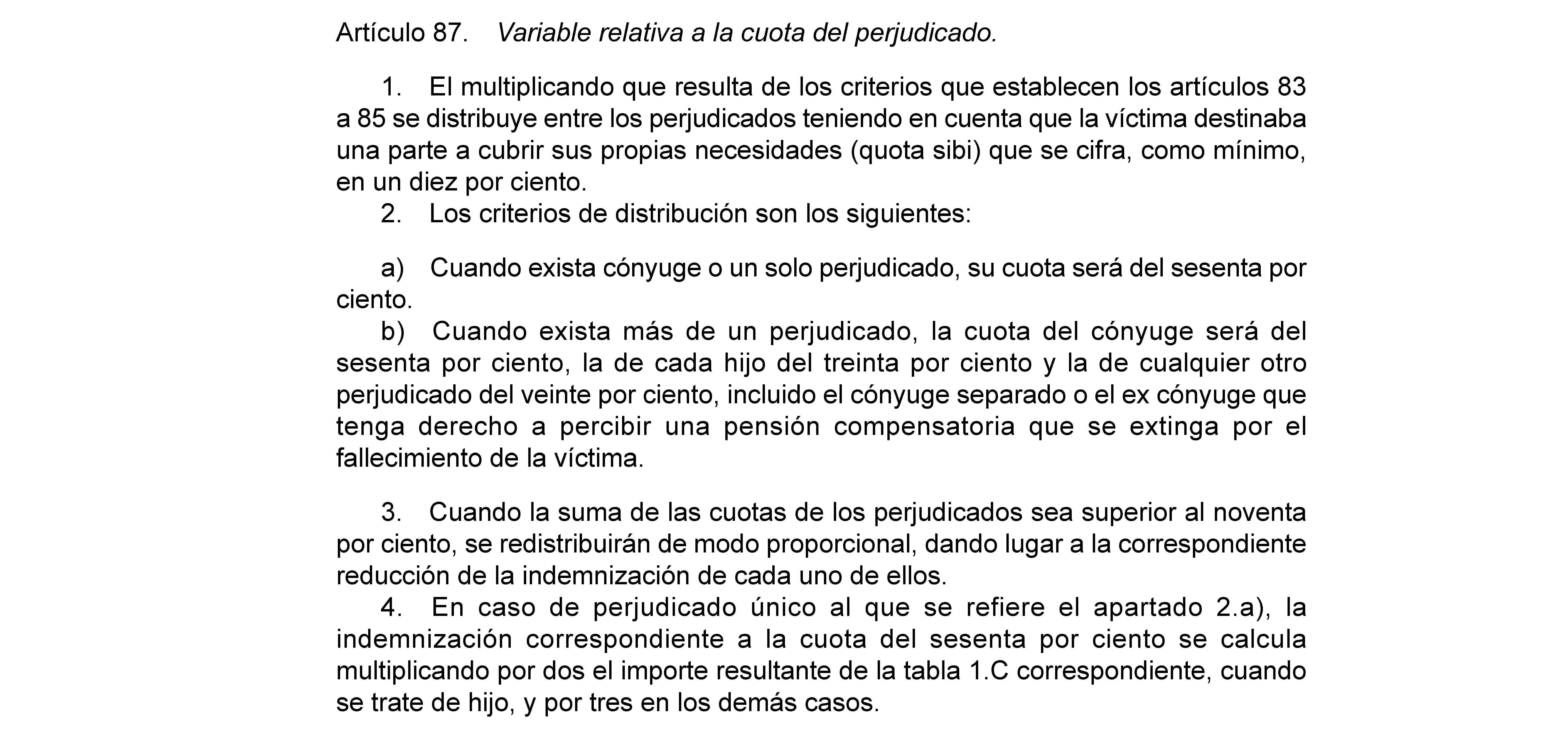 Artículo 87, indemnización por muerte en accidente de tráfico